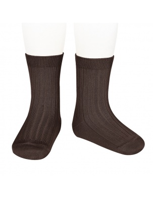 Skarpetki BASIC WIDE RIB SHORT SOCKS BROWN Condor