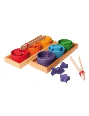 Drewniane Miseczki, gra do sortowania, 1+, tęczowe, Grimm's