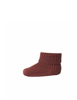 Wełniane Skarpetki ANKLE WOOL RIB TURN DOWN DARK BRICK mp Denmark