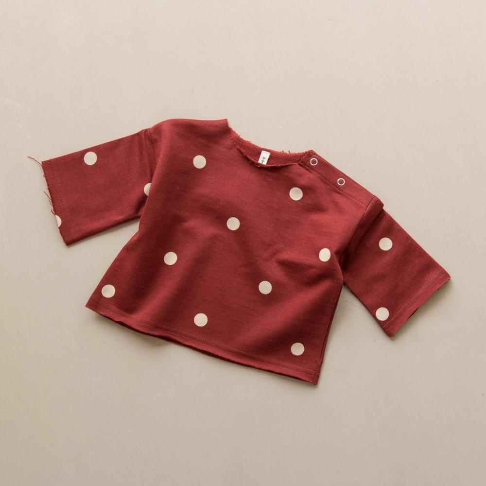 Bluzka Dots Layer Burgundy Sweatshirt ORGANIC ZOO
