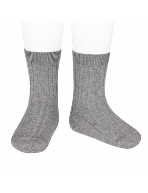 Skarpetki BASIC WIDE RIB SHORT SOCKS LIGHT GREY Condor