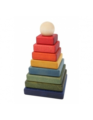 Piramida Kolorowa Kwadratowa WOODEN STORY