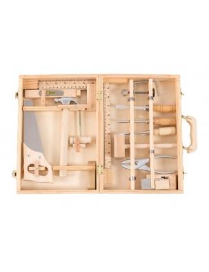 Duży zestaw narzędzi w drewnianej retro walizce MOULIN ROTY